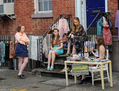 Lena Dunham, Zosia Mamet, Jemima Kirke and Alison Williams film 'Girls' in Soho.