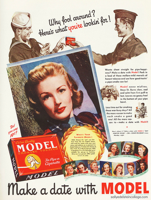 retroarama:  Model Smoking Tobacco on Flickr. Choose Your Favorite Model 1943