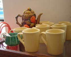 Vintage Homer Laughlin (HLC) Yellow Mugs plus Yellow Fiestaware Creamer (set of nine)- $20.00 Vintage Fruit Teal Coffee Pot (Inarro Japan)- $18.00 Vintage Green Ceramic Sugar Bowl- $5.00