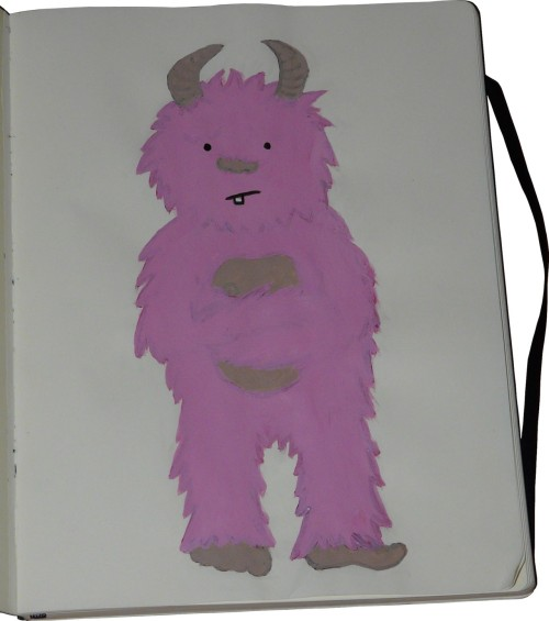 moleskinelovers:  The sad pink monster, by Enora Everett.