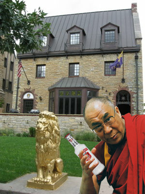 SAE - Local Fraternity House He was spotted here icing a fellow lama. However, he was very upset the lions were not painted red. TFM