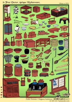新板かって道具尽 | 歌川芳虎,1857 81 Free Vector Antique Kitchenware - Ukiyo-e SVG by ~hansendo