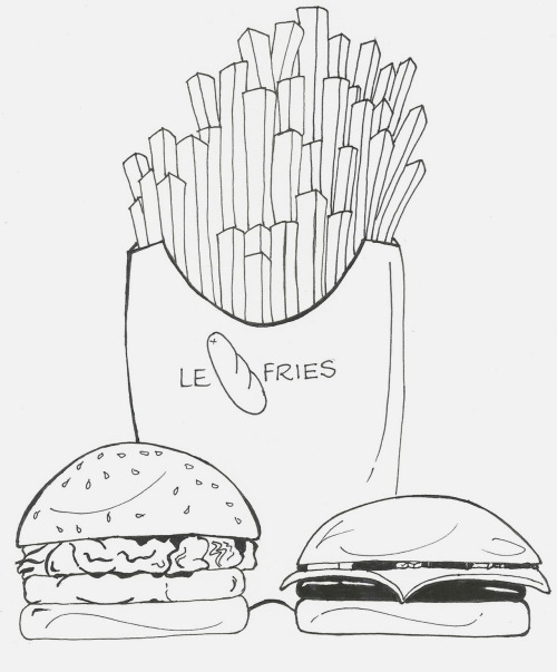 Day # 3: Favorite Food Cheese burgers and Fries Should've colored, I know.  30 Drawings in 30 Days