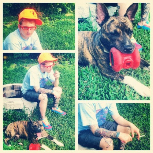 Thrift store find outfit. Craigslist find dog. ❤ #gmoney #pitbull #bullybreed #ifuckinglovemydog #brindle #mutt #dogsofinstagram #pitsbullsofinstagrams #iphone #iphoneography #iphone4 #hipster #johnny #tubeman #rap #hiphop #hype #dope #anchorkrew #tattoos #boys #clothes #fashion  (Taken with instagram)