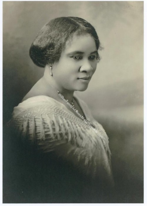 "Madam C. J.Walker died on this day at the age of 51 in 1919.  Upon her death she was considered to be the wealthiest black woman in America and known to be the first African-American woman millionaire.  Some sources cite her as the first self-made American woman millionaire. Her daughter Lelia succeeded her as president of the Madam C. J. Walker Manufacturing Company. ""I am a woman who came from the cotton fields of the South. From there I was promoted to the washtub. From there I was promoted to the cook kitchen. And from there I promoted myself into the business of manufacturing hair goods and preparations….I have built my own factory on my own ground.""                                                                               -Madam Walker, National Negro Business League Convention, July 1912"