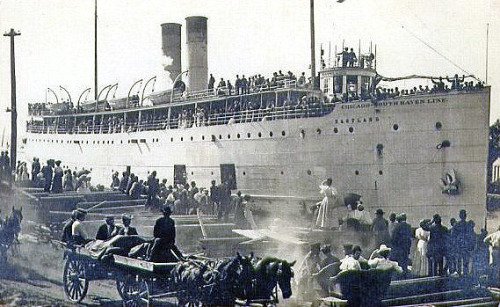 The SS Eastland docked, ca. 1916.