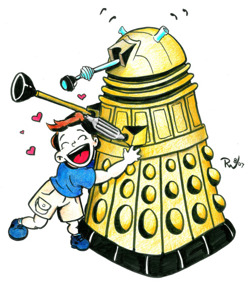 How about another older fun geeky drawing :) I think that poor Dalek is going to be fanboy hugged to death.