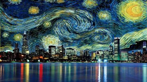 created-fromclay:  jakemikebro:  Chicago and Starry Night  Very neat