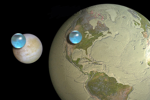 All the water on Europa compared to Earth. It makes us look parched!