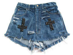 (via Crosses studded high waist shorts XS by deathdiscolovesyou on Etsy)