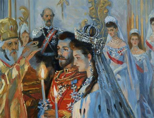 otmapalace:  A close up of the Wedding painting of Nicholas and Alexandra. Its so beautifully done!