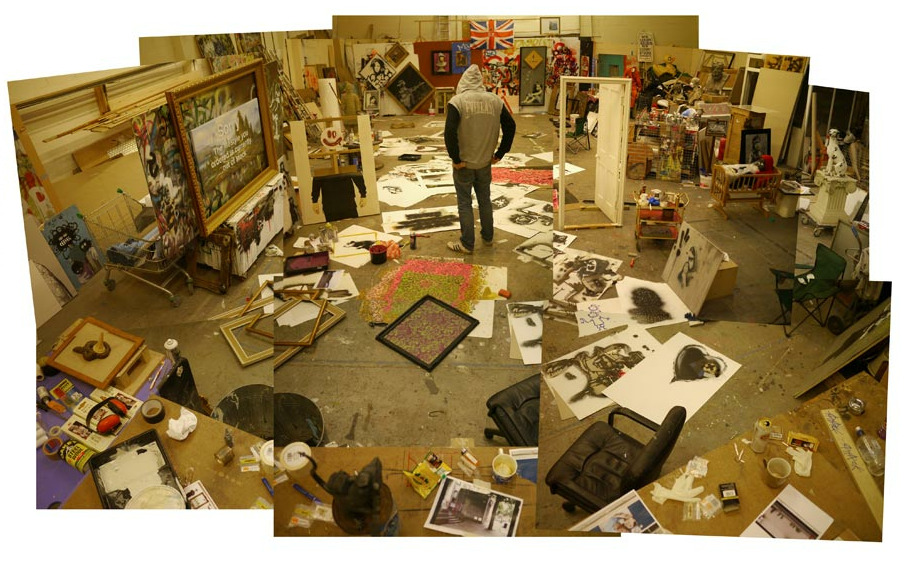 A photo of Banksy in his studio…