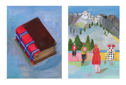 Maira Kalman, (on the left) Porta Portese Flea Market, 2011 and (on the right) Mount Rushmore, 2011