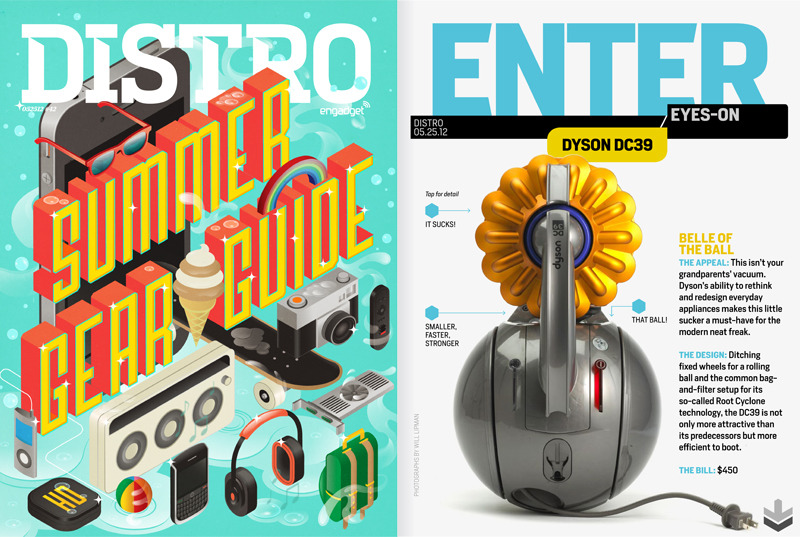 My two favorite pages from the new Engadget DistroCover Illustration: I Love Dust / Creative Direction: Greg Grabowy Eyes-On Photo: Will Lipman / Design: Eve Binder