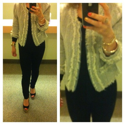 Yesterday's #OOTD -  Rebecca Taylor Tweed Jacket & Black Skinnies #OfficeChic #FashionDiaries #WhatIWore #Fashion (Taken with instagram)