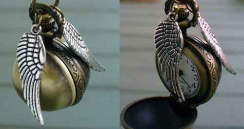 lulz-time:  BACK IN STOCK: Golden Snitch Watch Necklace. These flew off the shelves last time, so hurry and order now! On sale for just a few hours — the lowest price you'll ever get on this item! Order now and use coupon code '1000NOTES' to get an EXTRA 10% off your ENTIRE order!
