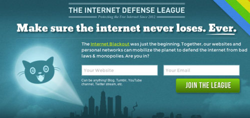 laughingsquid:  The Internet Defense League: Spreading The Alarm Whenever the Internet is Threatened