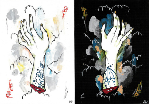 twin mitts acrylic/gouache/ink on paper.