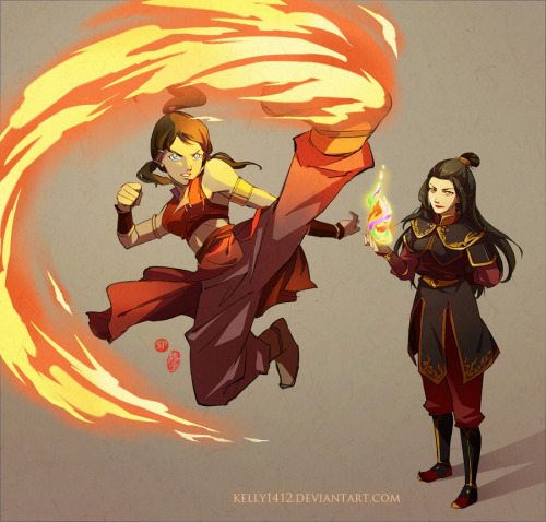 Kelly Li has put her art skills to use mashing the years of Avatar the Last Airbender and the era of Legend of Korra to create this fascinating tableau of Azula as Korra's fire bending teacher. Intriguing concept, no?