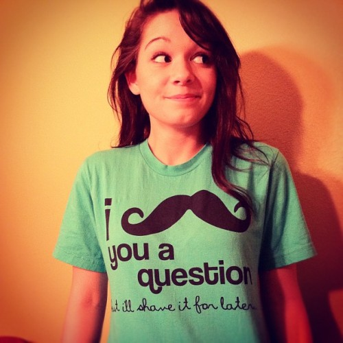 Pretty excited about my new shirt guys!! #mustache #jokes #whitegirl #corny #saywhat? #question. #answer. #yeahhyuhh (Taken with instagram)
