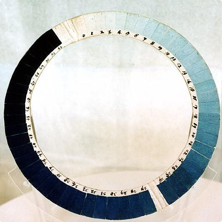 trumanhandcrafted:    texturism:    cyanometer. i should take this to the beach to measure the blueness.    Blues. Perfect.