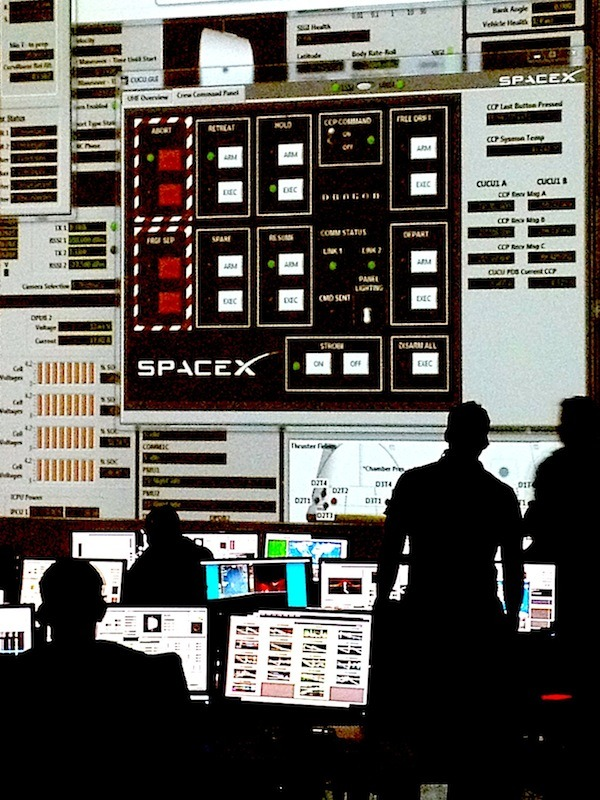 Making history.  Early this morning at SpaceX mission control the team remotely guides Dragon to ISS. An excruciatingly slow, cautious approach follows stringent NASA protocol.