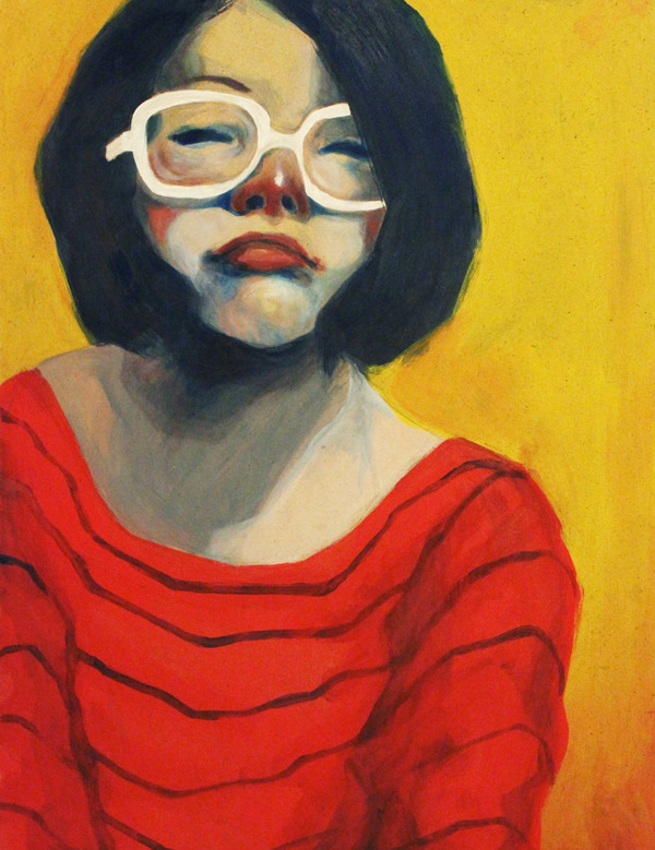 rosewong:  Self Portrait ' Rose Wong acrylic on panel So I have fallen in love with painting acrylic on panel.