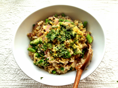 "Truffle Mushroom Quinoa Risotto w/ Asparagus — Cooking for Family Serves 4  My mom and dad visited Chis and me in New York last weekend, and I realized that I had never prepared a full meal for them. I didn't get into cooking until I was far away from home, and home cooked meals weren't common when we lived together either.  They have tasted different bites of things during visits since I've started ""concocting"", but this was the first meal I prepared especially for them. They seemed very impressed and fully satisfied, so I am comfortable recommending this dish for impressing less clean eaters :)   Combine and bring to a boil, them allow to simmer for 15 min: 1 cup sprouted quinoa  2 cups Pacific mushroom broth   Sauté for 3min, with a pat of butter on medium heat, later adding drops of water to keep veggies from sticking: 2 packages organic shiitake or baby Bella mushrooms, de-stemmed and roughly chopped 1 diced onion 1 minced garlic clove   Add and sauté for another 2 min: 1 bunch chopped asparagus  Truffle salt to taste (or sea salt)  Turn heat off and add quinoa to sauté, thoroughly combining the two. Serve immediately, with an optional topping of raw sheep pecorino for those not so concerned with food combining.  Before serving the risotto I opened with the main (size wise) dish — a large, juicy Italian flavored (fresh basil, parsley and oregano) avocado salad. It was a hit! And I ended with an avocado-chocolate pudding ;)"