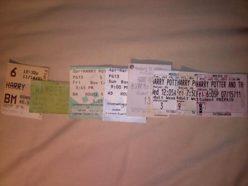 """Ticket stubs from all 8 Harry Potter Movies"" THE FEELS, MAN, THE FEELS."