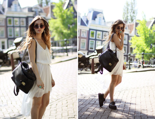 May 26th Look # 2 We love: The simplicity of it and the awesome combination with the shoes and backpack. Little White. (by Anouska Proetta Brandon)