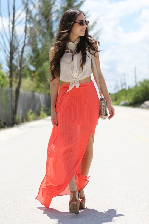Awesome cutout collared tank, the vibrant full length skirt is the perfect bottom!