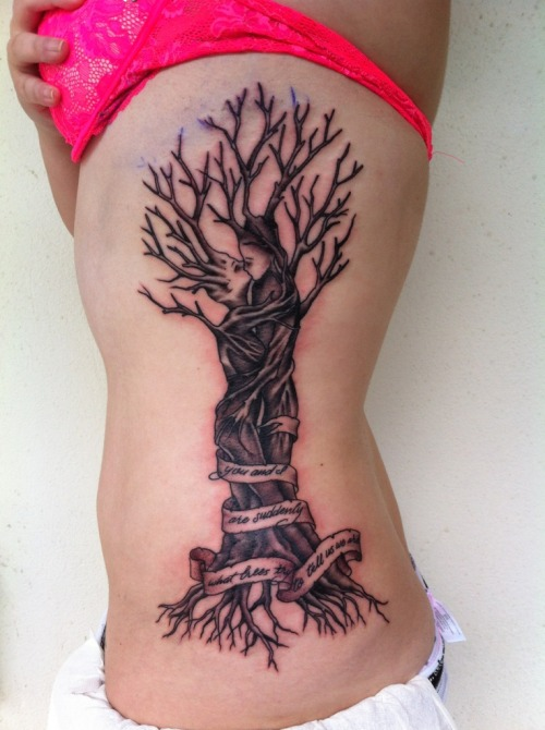 fuckyeahtattoos:  This is my freshly done representation of the Greek myth of Baucis and Philemon with a quote from Some Trees by John Ashbery. It was done by Steven Lam at Working Class Tattoo in Honolulu, HI. He was amazing and it only took about two and a half hours even with my ambivalence over completing the piece all in one session. I absolutely love it! :)