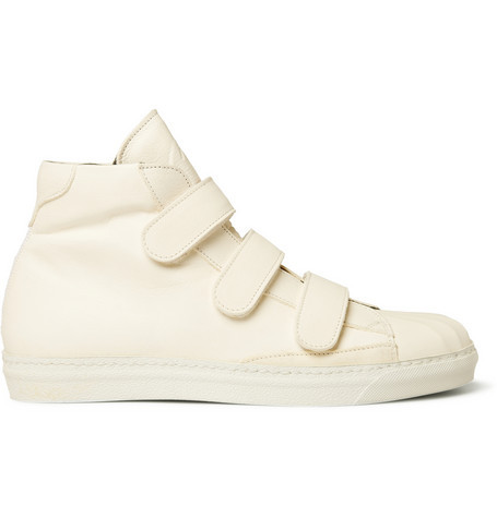 Alexander McQueen // Velcro-Strap High Top Leather Sneakers