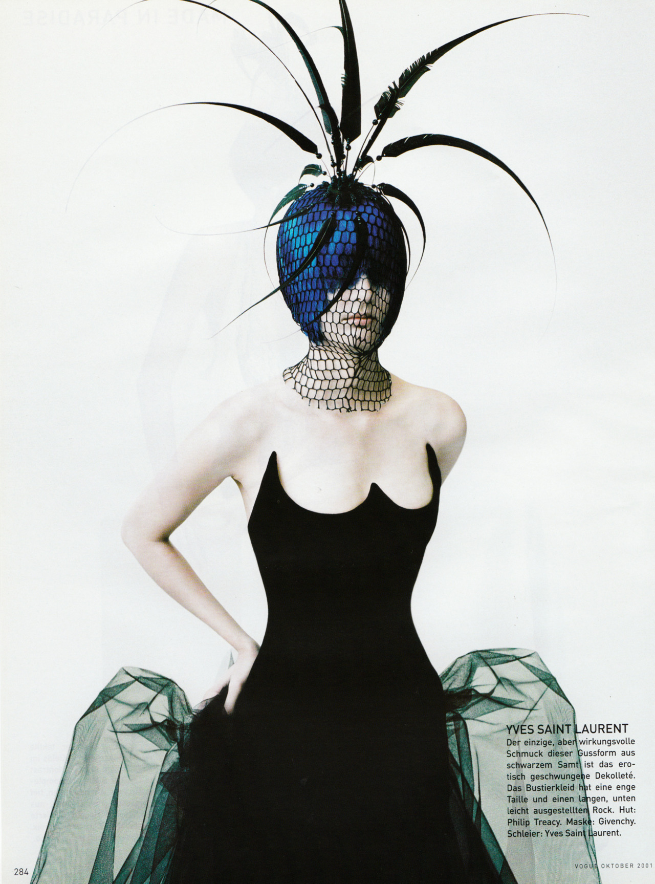 "fuckyeahfashioncouture:  ""Made in Paradise""  VOGUE GERMANY October 2001  dat neckline"