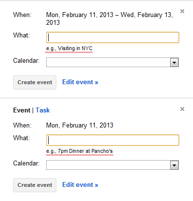Google Calendar - Example text changes based on the length of the added event. /via @faccig