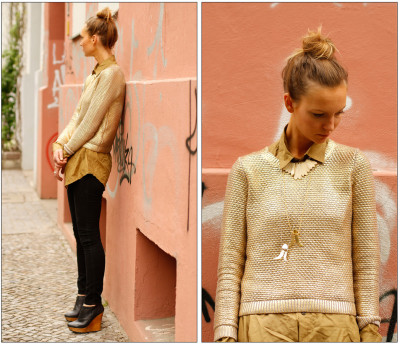 What Millicent wore next… Sweater | H&M Shirt | Vintage Pendants | Mies Nobis Jeans | H&M Style and Photos | mimstylin.com/ What Millicent wore Monday… (by Millicent N)