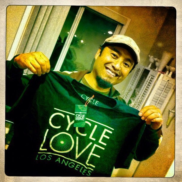 #instagram #celebrity member of #teamrebel @jojomon5 supporting @cycleloveclothing #cyclexlovexclothing #bicycle #bikelove #cyclelove #bikeporn #graphictee #losangeles #friend #thankyou (Taken with instagram)