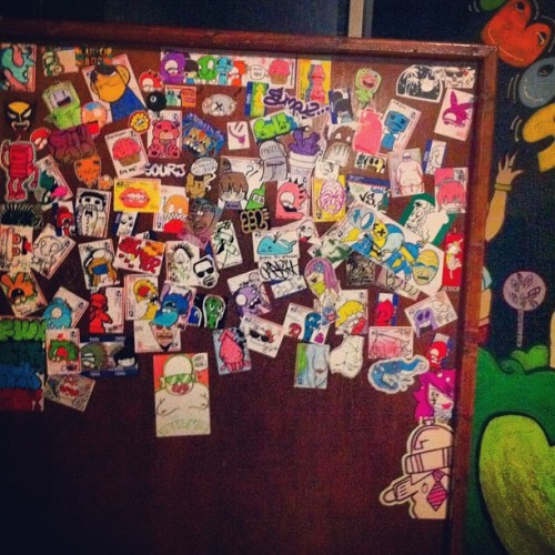 Bobos sticker wall update. Filling up nicely!  (Taken with Instagram at Bobo's Sports Bar)