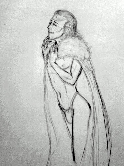 Jotun Loki in just his fur cloak and a thong. For mrhiddles wip sketch