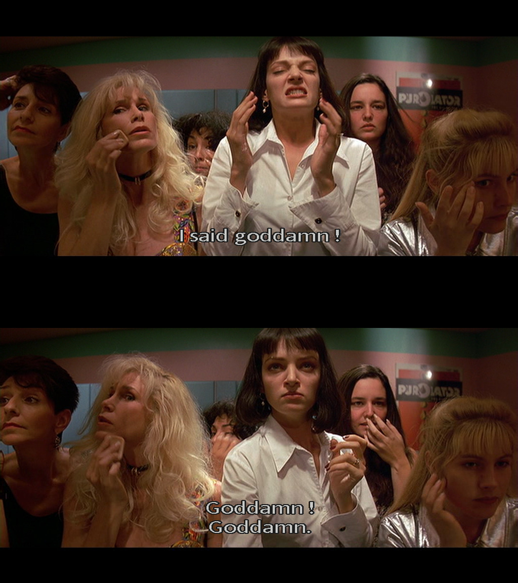 "suicideblonde:  bohemea:  Pulp Fiction  Uma Thurman's character imitates the lyrics from the Steppenwolf song ""The Pusher"" here, which describes the pusher of heroin as a ""monster"" who doesn't care ""if you live or if you die""."