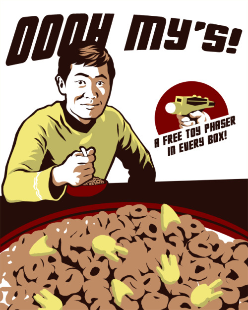 Oooh My's! A shirt design inspired by George Takei/Sulu. Shirt designs are always limited from four to six colors, so now I have to go work on this some more so I can add more colors and detail so I can use it for other things rather than just a shirt. (Although I do really like the simplicity of this one).
