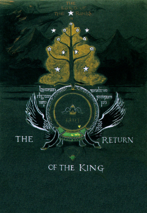 tolkien-lore:  frodoforever:  Return of the King book cover art  What a beautiful copy!