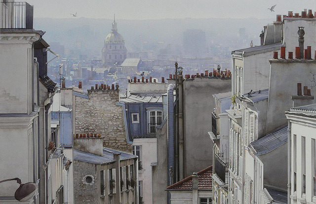| ♕ |  10 pigeons and chimneys - Paris  | by © Thierry Duval | via ysvoice