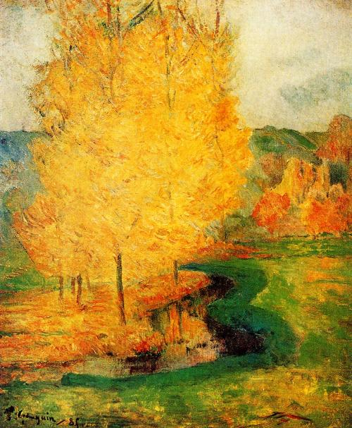 By the stream, Autumn (1885) Paul Gauguin