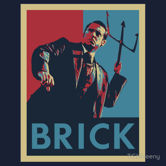 ianbrooks:  Brick by TGIGreeny Shirts and stickers available at redbubble. I killed a man with a trident.  Artist: website / twitter