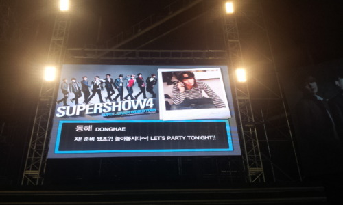 "Donghae's ufo reply on SS4 seoul encore vcr: ""are u ready? lets play! lets party tonight!"" cr: @SJia13"