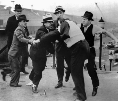 "Today in labor history, May 26, 1937:  Ford security attack union organizers and supporters attempting to distribute literature outside the plant in Dearborn, MI.  They then tried to destroy the pictures photographers had taken that documented the attack, which became known as the ""Battle of the Overpass.""  The photos that survived inspired the Pulitzer committee to establish a prize for photography."
