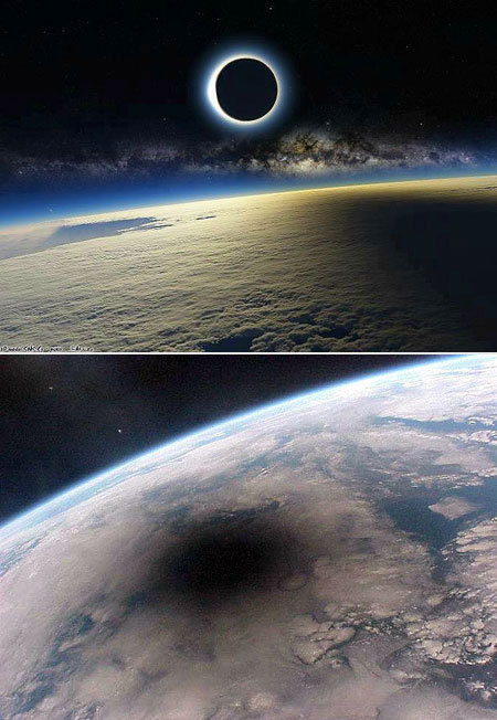 "Solar Eclipse as Seen from Spacetecheblog.com Photo cred­it: ReelFo­toEver won­der what the earth looks like dur­ing a solar eclipse? Well, ""these amaz­ing images show that the view from space is equal­ly as spec­tac­u­lar; in the sec­ond pho­to­graph taken of the August 11, 1999 so…  Solar Eclipse as Seen from Space"