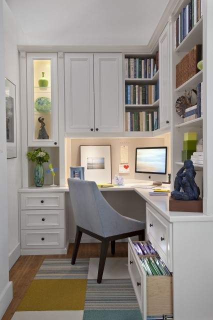 Another well planned and executed corner workspace.
