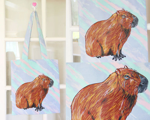 Haindpainted capybara tote bags available here: http://www.etsy.com/shop/ponyponypeoplepeople